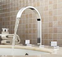 Specail 34A  Bathtub Basin Sink Waterfall Spout Mixer Tap Chrome 3Pcs Faucet Set