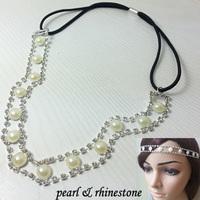 2014 women girl gorgeous Rhinestone pearl Elastic Headband sparkly crystal hair accessories wedding
