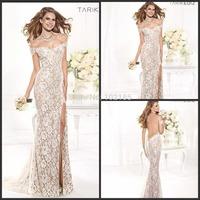 High Silt Evening Gown Floor Length Tarik Ediz Cap Sleeve Lace Evening Dresses Women Long Free Shipping X19