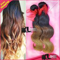 Ombre Hair Extensions Malaysian Virgin Hair Body wave 3Pcs/Lot three tone 1b/4#/27# 100% Human Hair Weaves 10-24 inch