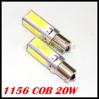 NEW Super Bright 2x White 20W COB 1156 P21W S25 LED Interior Fog Brake Parking backup Bulb Light Lamp 2PCS/Lot Free shipping