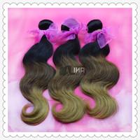 Hot Ombre Hair Extensions 5A Ombre Peruvian Hair Peruvian Ombre Virgin Hair Body Wave Three Tone Human Hair #1B/4//27