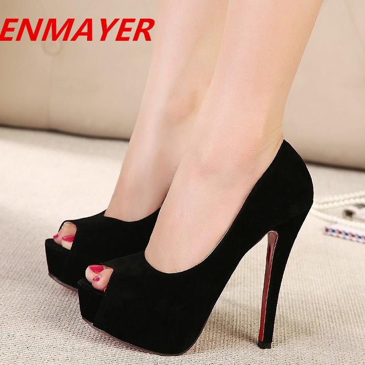 ENMAYER 2014 New Fashion Women open toe High Heels Shoes Wedding Footwear Ladies Platform Pumps More Colors(China (Mainland))