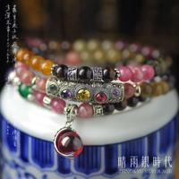 S925 pure silver natural brazil tourmaline bracelet Women multi-layer bracelets accessories crystal lucky