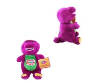 Free Shipping 38cm Barney The Dinosaur Sing  song Purple Plush Soft Toy Doll dinosaur purple Barney classic toys gift for kids