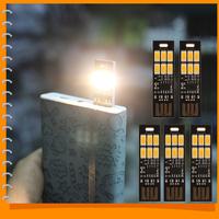 5pcs/pack! Soshine Portable Mini USB Power 6 LED Night Light Lamp 1W 5V Touch Dimmer Warm Light for Power Bank Computer Laptop