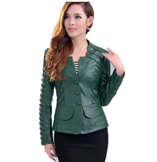 Free Shipping ! 2015 New Arrival Spring and Autumn Leather Fashion Jacket ,Female Slim Short PU Outwear L XL XXL XXXL 4XL 5XL(China (Mainland))