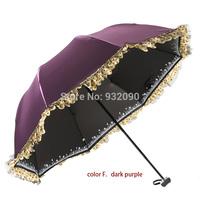 Sun umbrella, black plastic UV, lace, three folds. Multicolor optional. Princess style arch.