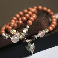 925 pure silver vintage thai silver glidstone fox dr. peach multi-layer bracelet necklace