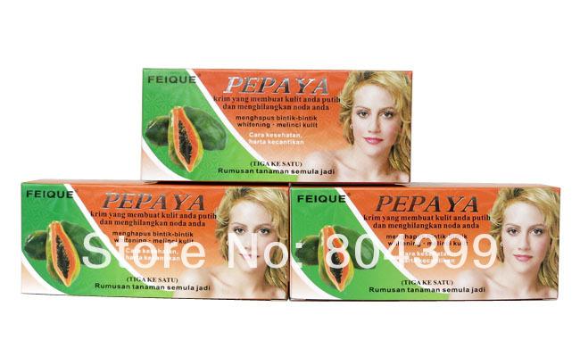 FEIQUE Papaya whitening cream for face anti freckle day cream+night cream+pearl cream skin care(China (Mainland))