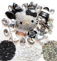 Phone Deco Hello Kitty Blinged Out Scraftbookings Black Flatback Decorations Half ABS Pearls Imitated Diamonds & Rhinestones