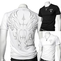New Arrival 2014 Slim Round Neck Men's T-Shirt / Printed Short Sleeve Tattoo T-shirt Tops/European style Tees T-shirt Men