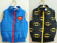2014 hot sells children boys fashion superman batman spring and autumn vest kids padded jacket