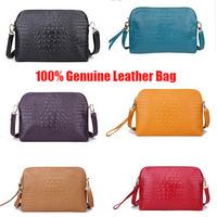 2014 New Fashion Crocodile Embossed 100% Genuine Leather Hand Bag Vintage Shoulder Bags Women Leather Handbags Messenger Bags