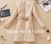 free shipping women outerwear vintage slim waist medium-long cotton-padded jacket 2 color size from M L XL 2XL 3XL 4XL 5XL