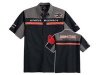 2014 new Spring Summer Burning Skull Garage Shirt short sleeve 100% Cotton Denim jeans shirt men for Harley 110th Anniversary