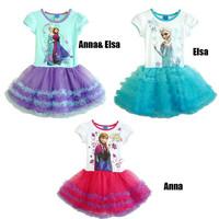 Retail Spuer beautiful New 2014 Summer Brand Girls Frozen Princess Cotton Dress Anna&Elsa Lace Tutu Dress Kids Party Wear