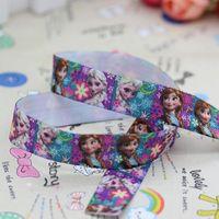 5/8 inch Free shipping Fold Over Elastic FOE frozen anna elsa printed headband diy hair band wholesale OEM H2310