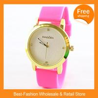 ePacket Free Shipping 2014 New PANDORA Brand Silicone Dress Watch Gold Dial Women Men Wristwatch Janpan Quartz+Drop Shipping