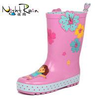 {D&T Shop} 2014 New Arrival Dora Kids Rain Boots Children's Rain Shoes For Girls Fashion Water Shoes Non-slip Free Shipping