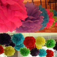 Free Ship 5 Inch (13cm) 25 Pcs/Lot  Peony Paper  Flower Pom Pom  Balls Wedding Shower Decorations White Wedding Flower