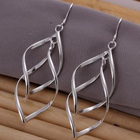 Min Order is $15,Top Quality Promotion 925 Silver Drop Earrings Wholeale Banana Women's Silver Plated Earring Fashion Jewelry