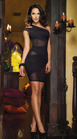 New Women Sexy dresses Lace Cocktail party Wear Ladies Hollow One shoulder Black Club Nightwear mini dress Clothing