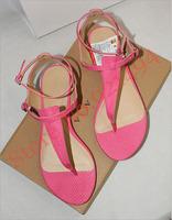 New  2014 Brand Design Summer Women's  Flip Flops Women Sweet  Flat Ankle Strap Toe Rome  Sandals