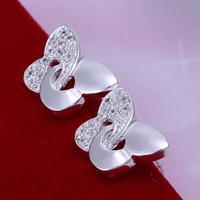 Min Order is $15, Wholesale 925 silver earrings,925 silver plated fashion jewelry Zircon butterfly earrings ! cRYSTAL sHOP CE146