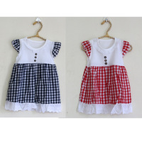 1 pcs free shipping infant dressing lace plaid dresses for 6-12 months baby toddler girls, retails