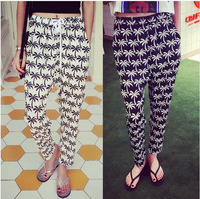 2014 summer women's print elastic waist chiffon casual pants mid waist ankle length trousers harem pants