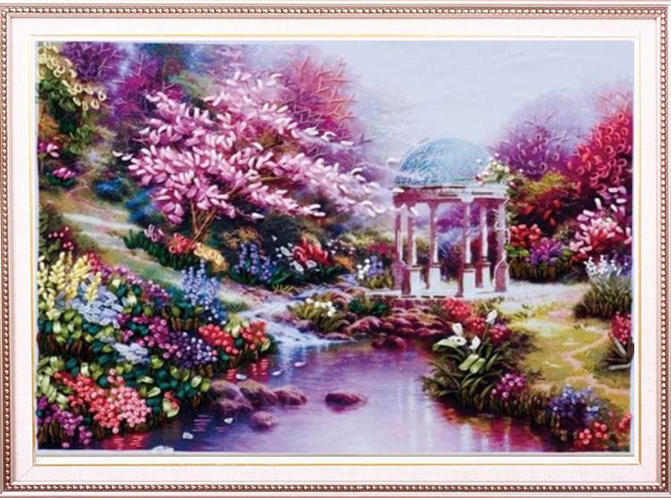 Ribbon embroidery fashion intergards paintings romantic kit at home 65*50cm(China (Mainland))
