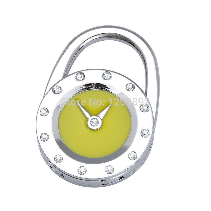 Free shipping! 2014 Fashion Zinc alloy rhinestone Bracelet Style Hangdbag hook foldable purse hanger mix colors(China (Mainland))