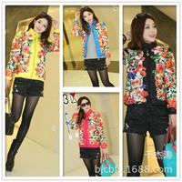Free shipping , 2014 fashion slim cotton prints short design women Autumn Floral wadded jacket cotton-padded jacket
