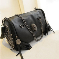 New 2014 Fashion European and American Style Women Handbags Tassel Skull Chain bag PU leather Shoulder Messenger bags