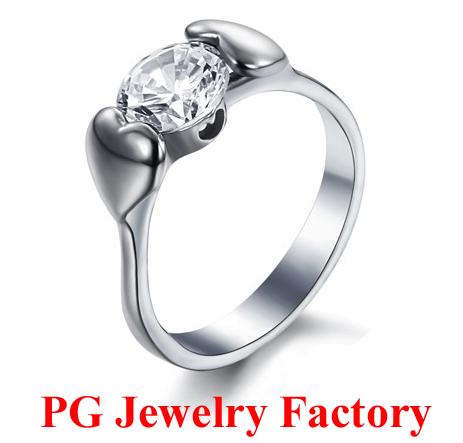 Free Shipping 2014 New Fashion Titanium Hearts and Arrows Cut Swiss Diamond CZ Jewelry Wedding Bands for Women(China (Mainland))