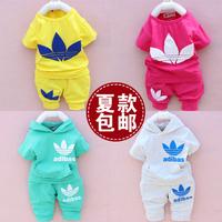 Free shipping 2014 male female child baby clothes summer set infant boy casual sports sweatshirt set