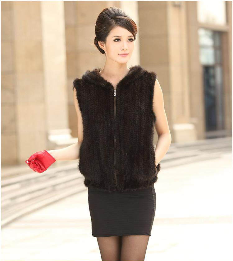knitted mink fur vest women's short mink fur jacket with a hood winter luxury mink fur waistcoats DHL/EMS Free shipping TF0284(China (Mainland))