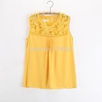 014 White/Blue/Black/Yellow Women Lace Shoulder Patchwork Emboriey Gorgeous Tanks & Camis Blouses