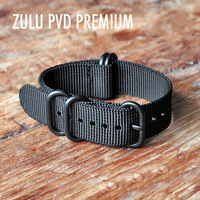 Free shipping ZULU MILITARY NATO WATCH STRAP WITH 5 RINGS BLACK PVD HARDWARE