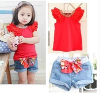 2014 Han edition suit with short of the girls Bow jeans (shirt + shorts) 2 times 5set/lot free  shipping