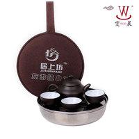 Circle stainless steel tea tray teapot cup travel kung fu tea set