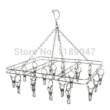 stainless steel hooks wind socks drying rack hanger racks versatile multi- clip sock rack Square(China (Mainland))