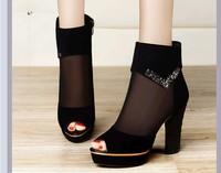 spring and summer female sandals platform rhinestone cutout gauze thick heel high heels open toe shoe high-heeled shoes