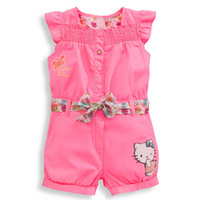 2014new Summer wear hellokty girls cartoon bowknot sleeveless conjoined clothes, 5set/lot, free shipping