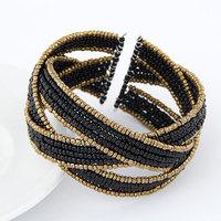2014 Fashion Charm Vintage Bohemian Handmade Beads Bracelet Bangle Beaded Wide Open Bangle