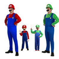 Free Shipping Men Women Funy Cosplay Costume/Super Mario Luigi Brothers Plumber Fancy Dress Up Party Costume/Cute Kids Costume