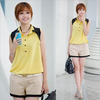 #XF482 girls chiffon blouse New 2014 summer fashion women sleeveless turn-down collar  casual top free shipping