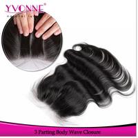 3 Part Closure Body Wave Brazilian Virgin Hair Closure,100% Human Hair Lace Closure 4x4,Aliexpress YVONNE Hair Products