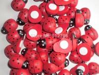 100pcs/lot1*1.3 cm kids toys  wooden Bettle fridge magnets self-adhesive ladybug stickers Easter decoration cute scrapbooking